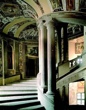 Caprarola - the principal staircase in the Palazzo Farnese, a Renaissance masterpiece - Credit - De Agostini Picture Library
