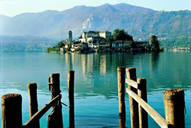 Piedmont, Orta San Giulio - in the middle of Lake Orta lies a small island with a convent - Credit - De Agostini Picture Library