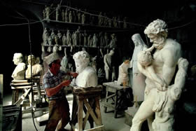 Tuscany, Carrara - the world's greatest sculptors entrust their creations to the skilful hands of the stonemasons - Credit - De Agostini Picture Library